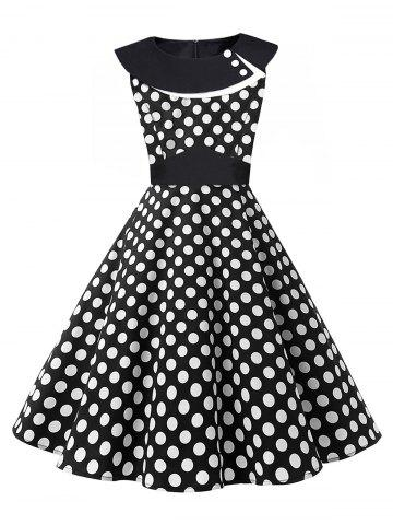 Trendy Vintage Polka Dot Pin Up Dress WHITE/BLACK 2XL