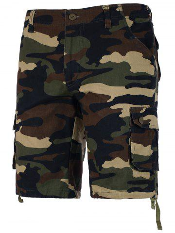 Chic Zipper Fly Camo Shorts - 36 CAMOUFLAGE Mobile