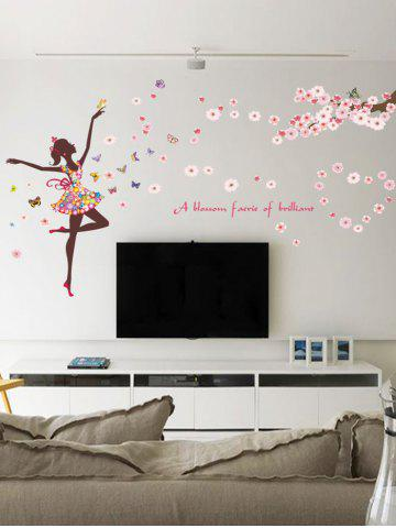 Pvc A Blossom Faerie of Brilliant Flower Wall Decal Sticker - Light Pink - 30*90cm