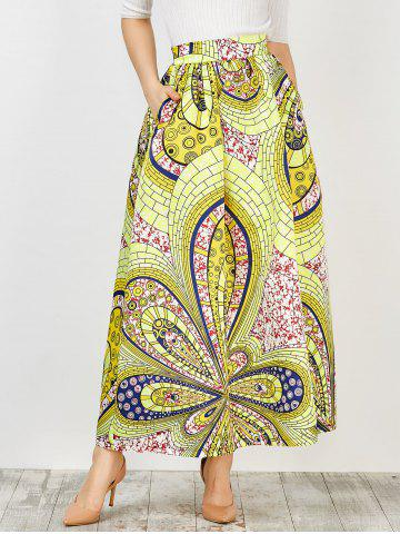 High Waist Africa Print Skirt - Yellow - S