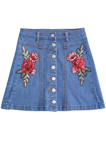Trendy Button Up Patched Floral Jean Skirt BLUE M