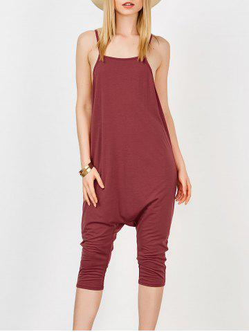 Outfit Backless Cami Harem Jumpsuit WINE RED XL