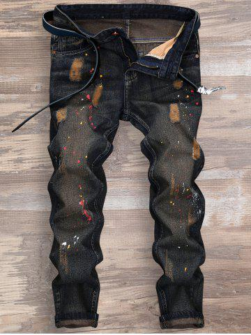 Splatter Paint Ripped Nine Minutes of Jeans - Deep Blue - 34
