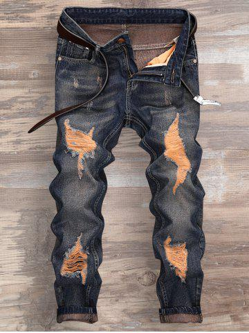 Trendy Cuffed Ripped Design Nine Minutes of Jeans - 32 DENIM BLUE Mobile