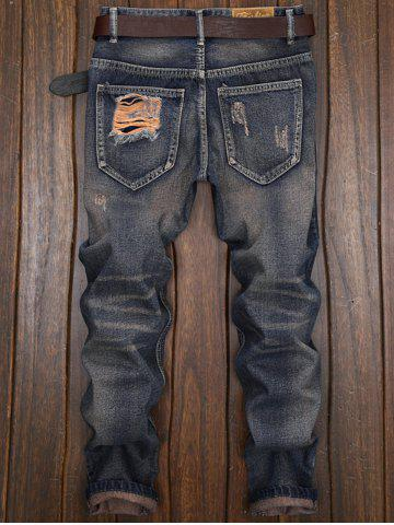 Hot Cuffed Ripped Design Nine Minutes of Jeans - 32 DENIM BLUE Mobile