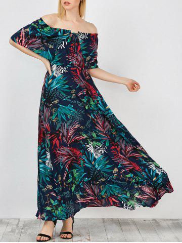 Unique Off Shoulder Maxi Print Swing Capelet Dress