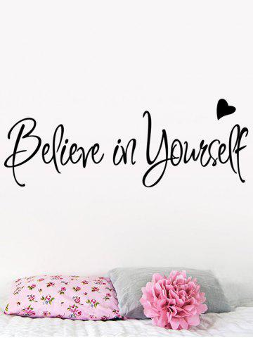 Discount Believe in Yourself Inspirational Slogan Wall Sticker - 56*20CM BLACK Mobile