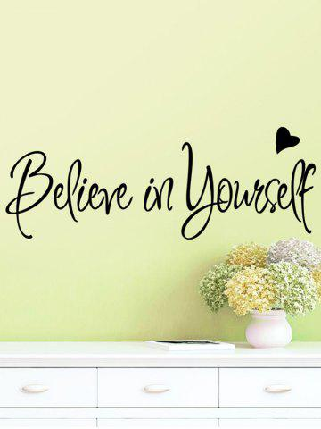 Shop Believe in Yourself Inspirational Slogan Wall Sticker - 56*20CM BLACK Mobile