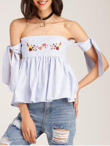 Chic Floral Embroidered Off The Shoulder Blouse BLUE L