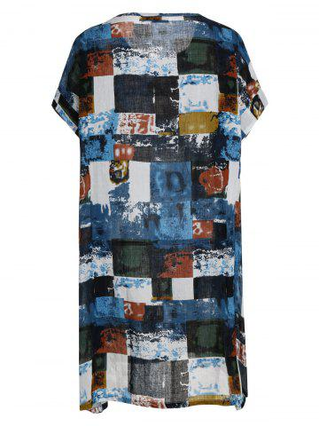 New Plus Size Colored Plaid T-Shirt Dress With Pockets - ONE SIZE BLUE Mobile