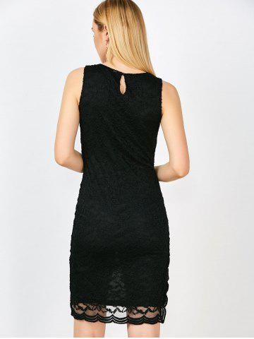 Affordable Sleeveless Lace Asymmetric Bodycon Dress - 2XL BLACK Mobile