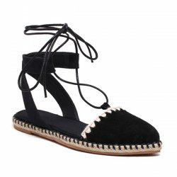 Lace Up Espadrilles Flat Shoes - BLACK