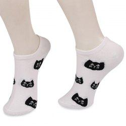 Kintted Cats Heads Pattern Ankle Socks