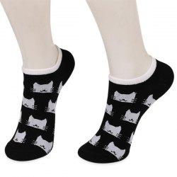 Knitting Cartoon Cats Embellished Ankle Socks - BLACK
