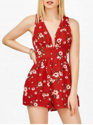 Plunging Neck Floral Backless Sleeveless Romper - RED M