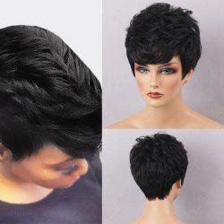 Short Layered Cut Fluffy Neat Bang Capless Human Hair Wig