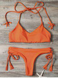 Lace-Up Tassels Halter Bralette Bikini Set -