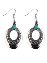 Carved Boho Oval Faux Turquoise Hook Earrings - SILVER