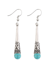 Column Carved Bohemian Artificial Turquoise Drop Earrings -
