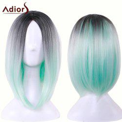 Adiors Straight Middle Part Ombre Medium Bob Cosplay Lolita Wig - BLACK AND GREEN