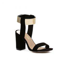 Suede Block Heel Sandals - BLACK 38