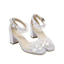 Block Heel Artificial Crystal Sandals