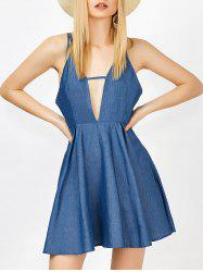 Plunge Neck Open Back Skater Chambray Dress