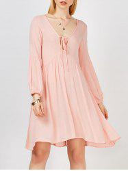 Plunging Neck Self Tie Crinkled Casual Dress For Summer -