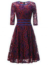 Lace Floral Vintage Cocktail Dress - RED M