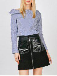 Boat Neck Striped Side Slit Blouse