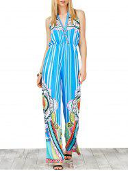 Halter High Waist Striped Jumpsuit