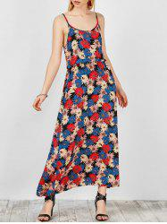 Floral Print Cutout Maxi Slip Dress