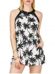 Palm Tree Print Sleeveless High Neck Romper - BLACK WHITE