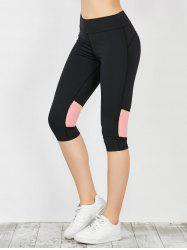 Capri Workout Two Tone Running Leggings - PINK