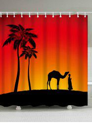 Camel Palm Tree Shadow Polyester Shower Curtain