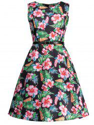 Vintage Floral Knee Length Flare Dress - BLACK XL