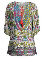 Floral Tunic Boho Dress with Tassels