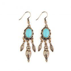 Artificial Turquoise Oval Drop Earrings