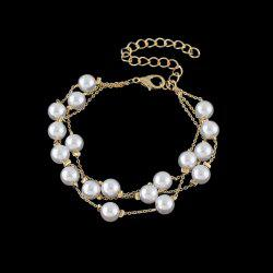 Layered Faux Pearl Chain Bracelet