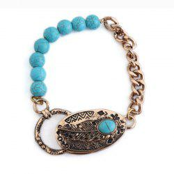 Faux Turquoise Engraved Feather Beads Bracelet