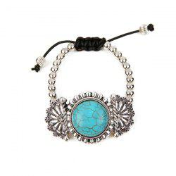 Vintage Artificial Turquoise Flower Beaded Bracelet