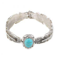 Alloy Faux Turquoise Feather Bracelet - SILVER