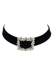 Artificial Leather Velvet Rhinestone Choker Necklace