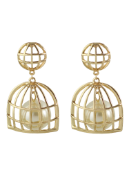 Artificial Pearl Cage Drop Earrings