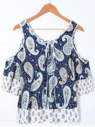 Paisley Cold Shoulder Tie Front Blouse
