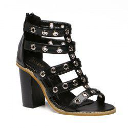 Faux Leather Eyelets Sandals