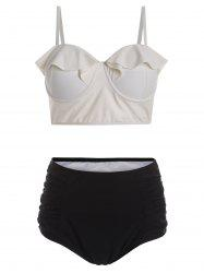 Plus Size Bustier Bikini Top and High Waisted Bottoms
