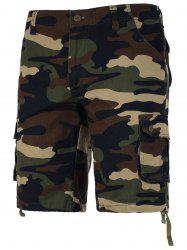 Zipper Fly Camo Shorts - CAMOUFLAGE
