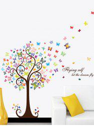 Cartoon Butterfly Tree Let Dream Fly Wall Sticker