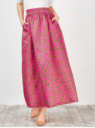 High Waist Africa Print Skirt - PEACH RED